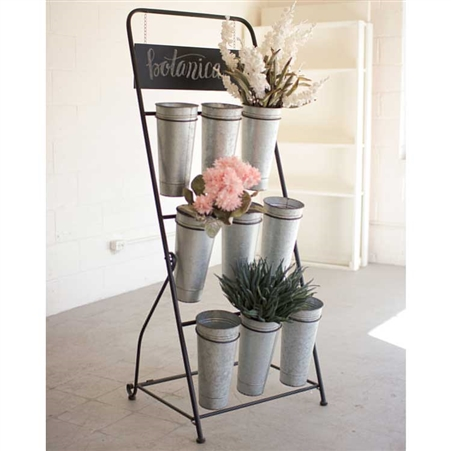 Folding Metal Flower Rack Display Stand with Galvanized Metal Buckets at Timeless Wrought Iron