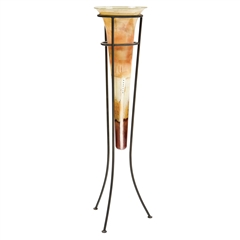 Pictured here is the Salmon Large Glass Floor Cone with Iron Stand by Couleur