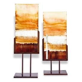 Pictured here is a set of hand painted Salmon Panel Art pieces on iron stands