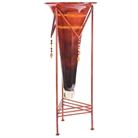 Red Dawn Large Glass Cone with Jewel Base by Couleur