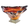 Pictured here is the Red Dawn Triangle Glass Bowl and Base from Couleur