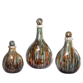 Pictured here is the Cool Water Glass Bottles with Tops Set of 3 from Couleur