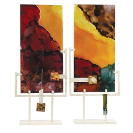 Pictured here is a set of hand painted metal Signature Panel Art pieces created by artisans.