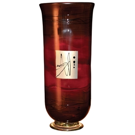 Pictured here is the Red Gold Hurricane Large Glass Vase from Couleur