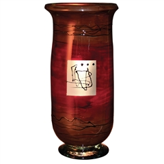 Pictured here is the Red Gold Hurricane Small Glass Vase from Couleur