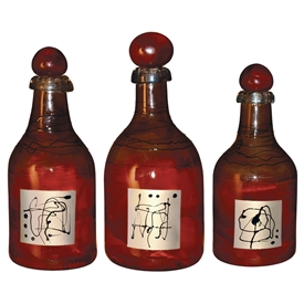 Pictured here is the Red Gold Glass Bottles Set of 3 from Couleur