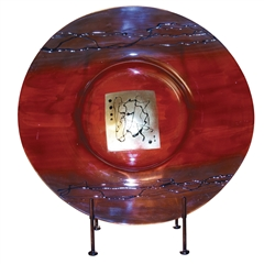 Pictured here is the Red Gold Glass Charger with Iron Stand from Couleur