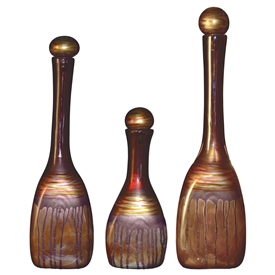 Pictured here is the Riviera Sand Glass Bottles Set of 3 from Couleur