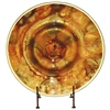 Pictured here is the Feather Gold Glass Charger with Iron Stand from Couleur