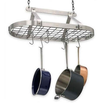 Pictured is the Classic Oval Hanging Pot Rack from Enclume | DR4