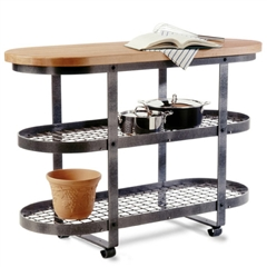Pictured here is the Gourmet Kitchen Island Pot Rack by Enclume with two metal shelves and 1 wood work top.