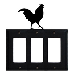 Wrought Iron Rooster Triple GFI Cover