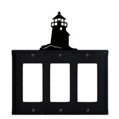 Wrought Iron Lighthouse Triple GFI Cover