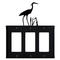 Wrought Iron Heron Triple GFI Cover
