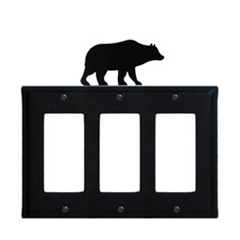 Wrought Iron Bear Triple GFI Cover