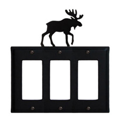 Wrought Iron Moose Triple GFI Cover