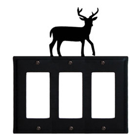 Wrought Iron Deer Triple GFI Cover