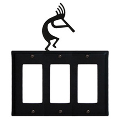 Wrought Iron Kokopelli Triple GFI Cover