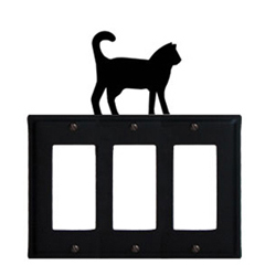 Wrought Iron Cat Triple GFI Cover