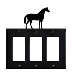 Wrought Iron Horse Triple GFI Cover