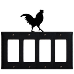 Wrought Iron Rooster Quad GFI Cover