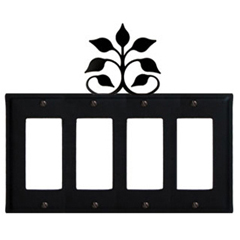 Wrought Iron Leaf Fan Quad GFI Cover