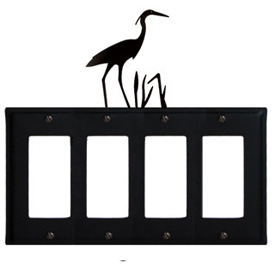 Wrought Iron Heron Quad GFI Cover