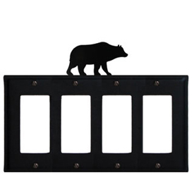 Wrought Iron Bear Quad GFI Cover