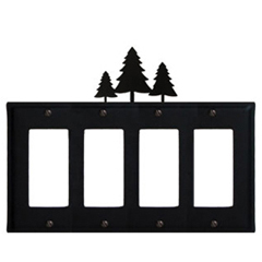 Wrought Iron Pine Trees Quad GFI Cover