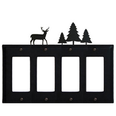 Wrought Iron Deer Quad GFI Cover Pine Trees