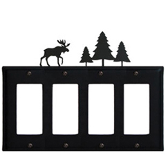 Wrought Iron Moose Quad GFI Cover Pine Trees