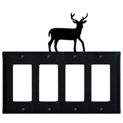 Wrought Iron Deer Quad GFI Cover