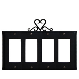 Wrought Iron Heart Quad GFI Cover