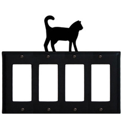Wrought Iron Cat Quad GFI Cover