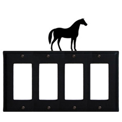 Wrought Iron Horse Quad GFI Cover