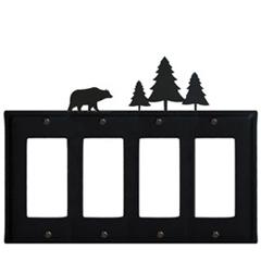 Wrought Iron Bear Quad GFI Cover Pine Trees