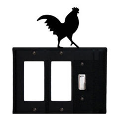 Wrought Iron Rooster Single GFI Cover