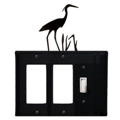 Wrought Iron Heron Single GFI Cover