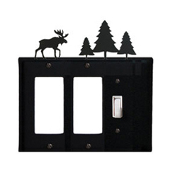 Wrought Iron Moose Single GFI Cover Pine Trees