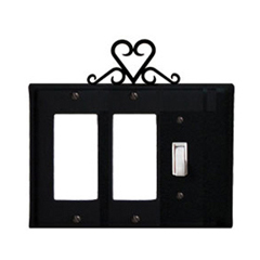 Wrought Iron Heart Single GFI Cover