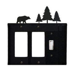 Wrought Iron Bear Single GFI Cover Pine Trees