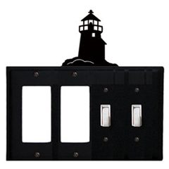 Wrought Iron Lighthouse Combination Cover - Double GFI Left with Double Switch Right