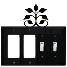 Wrought Iron Leaf Fan Combination Cover - Double GFI Left with Double Switch Right