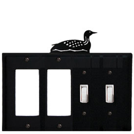 Wrought Iron Loon Combination Cover - Double GFI Left with Double Switch Right