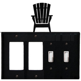 Wrought Iron Adirondack Combination Cover - Double GFI Left with Double Switch Right