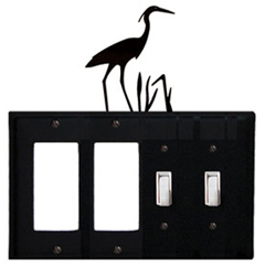 Wrought Iron Heron Combination Cover - Double GFI Left with Double Switch Right