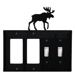 Wrought Iron Moose Combination Cover - Double GFI Left with Double Switch Right