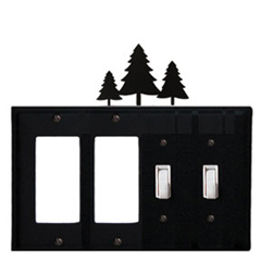 Wrought Iron Pine Trees Combination Cover - Double GFI Left with Double Switch Right