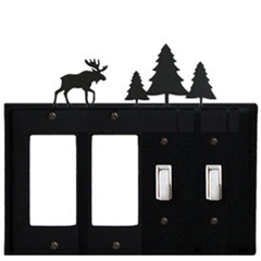 Wrought Iron Moose Combination Cover - Double GFI Left with Double Switch Right Pine Trees