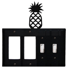 Wrought Iron Pineapple Combination Cover - Double GFI Left with Double Switch Right